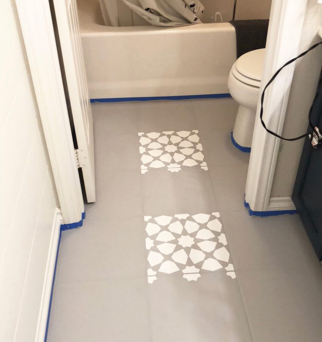How To Paint A Bathroom Floor To Look Like Cement Tile For Under 75 Young House Love