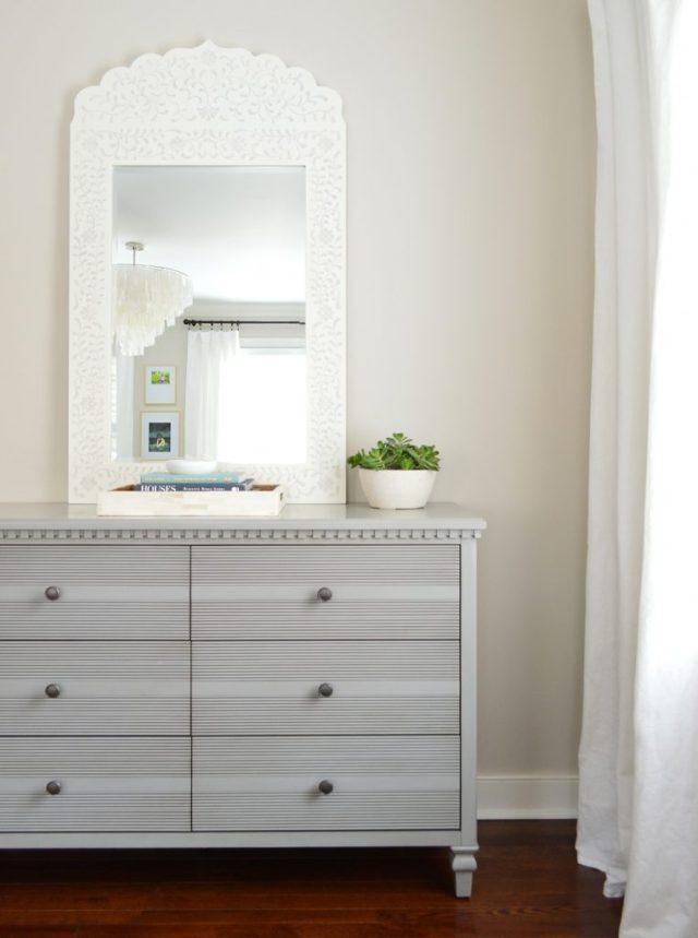 Faux succulent on bedroom dresser