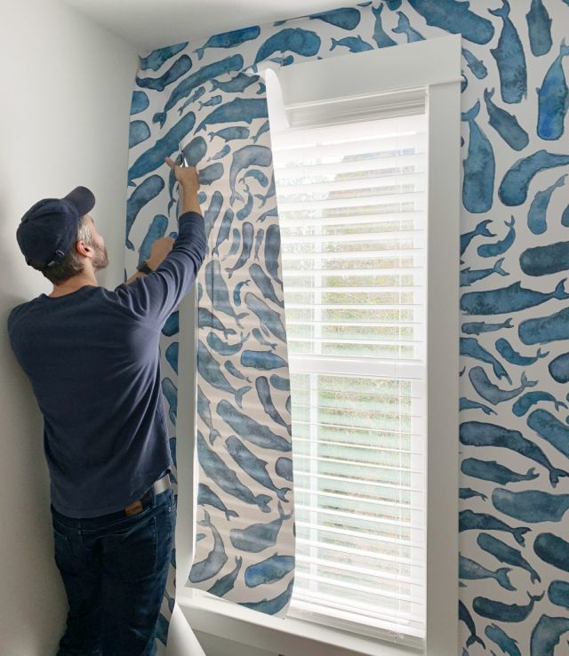 Cutting Excess Removable Wallpaper In Final Panel Around Bedroom Window
