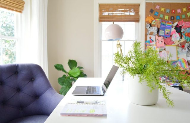Faux plant on desk in home office