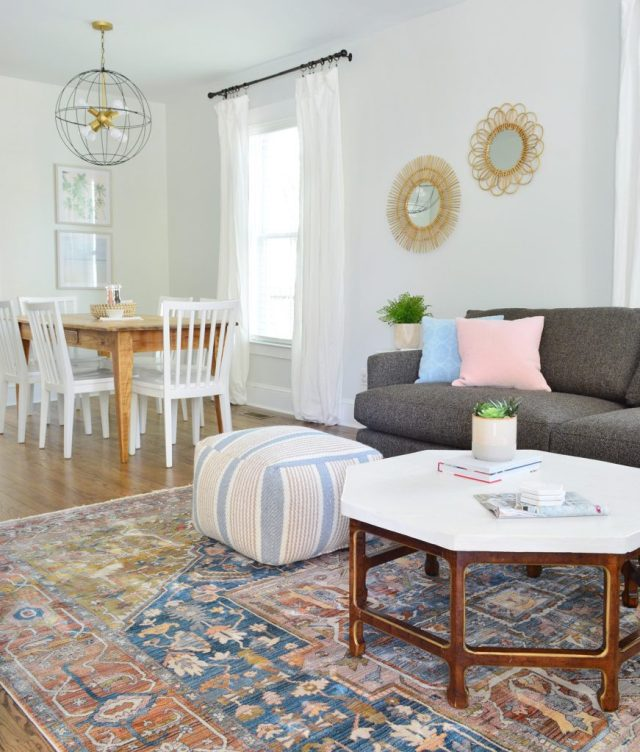 Neutral Traditional Rug With Crate And Barrel Sofa And Pouf With Dining In Background