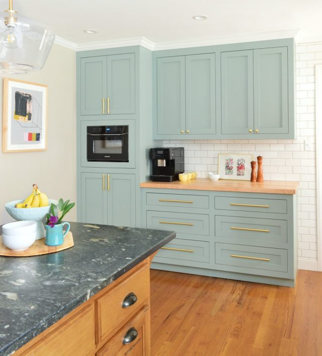 After Of Former Laundry Area Now With Halycon Green Blue Pantry Cabinets