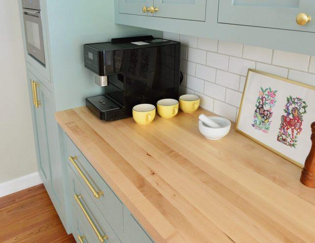 Butcher Block Countertop With Subway Tile Backsplash in Halcyon Green Blue Kitchen
