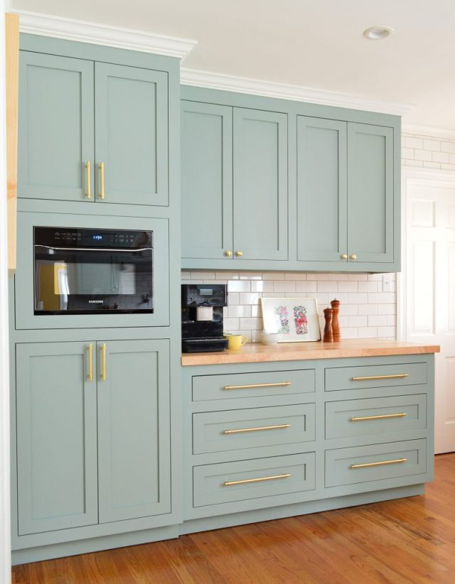 Tall Pantry Cabinets With Coffee Counter In Halcyon Green Blue Kitchen
