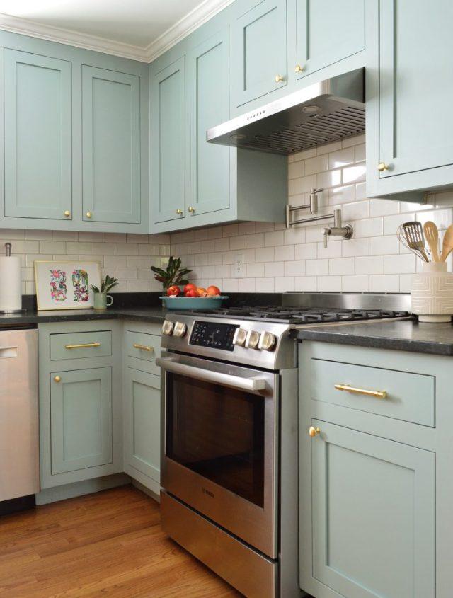 Stainless Steel Gas Range In Halcyon Green Blue Kitchen