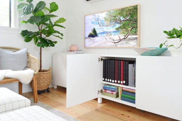 Ikea Besta Cabinet Door Open With Photo Album Storage