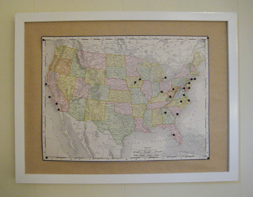 Make cheap wall art thats personalzed and memorable with keys a plus it encourages us to get out there and see the country so we can stick more pins into the map asap gumiabroncs Image collections