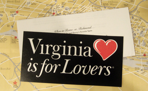 Virginia is for Lovers bumper sticker and map for hotel gift for backyard wedding guests