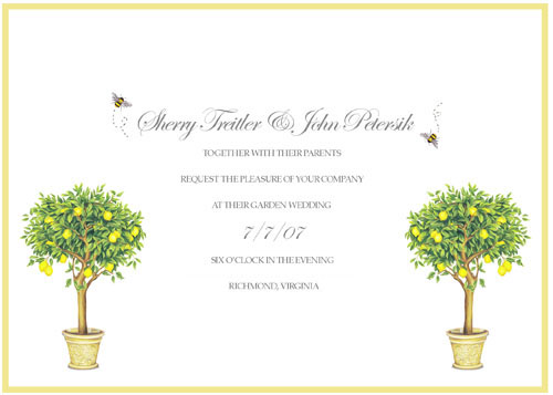 backyard wedding invitation featuring bees and yellow topiaries