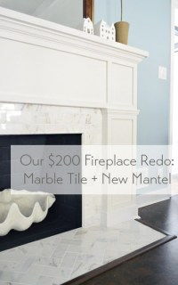 Our $200 Fireplace Makeover (Marble Tile & A New Mantel ...