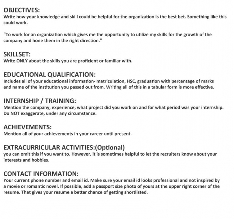 resume for freshers looking for the first job
