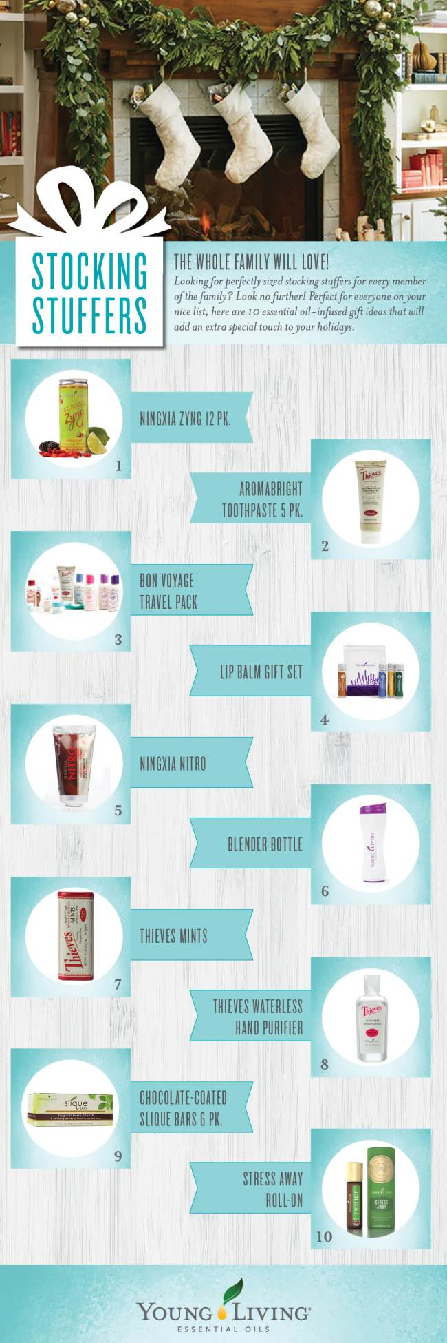 Young Living stocking stuffer ideas - Black Pepper, Blender Bottle, Chocolate-Coated Slique Bars, Copaiba, Lime, NingXia Nitro, NingXia Zyng, Orange, Stress Away, Thieves Mints, Thieves AromaBright Toothpaste, Bon Voyage Travel Pack, Lip Balm Gift Set, Thieves Waterless Hand Purifier, Stress Away Roll On