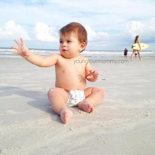 Baby at the beach, motherhood , mommy blogger