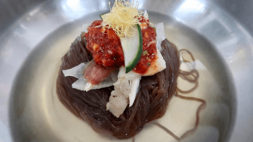 North Korean food: Naengmyeon, or 'cold noodle soup'.