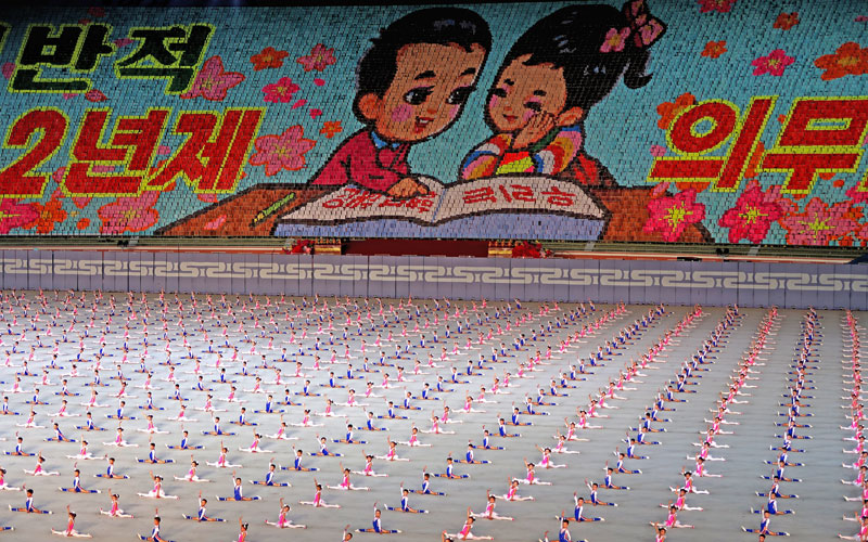 Hundreds of children doing the splits during the Mass Games in Pyongyang.