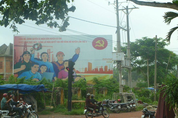 Vietnamese communist mural, utilising many symbols iconic to socialist nations.