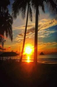 The beautiful sunset at Palawan Island, Philippines.