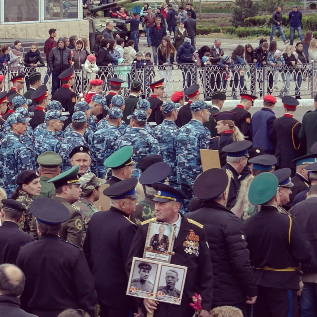 The national day parade happening in Tiraspol, Transnistria or Pridnestrovia
