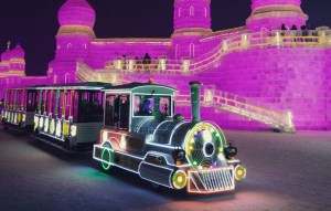 Miniature train at the Harbin Ice Festival