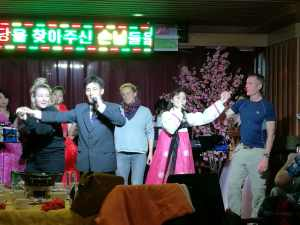 Guest singing in New Hope Restaurant