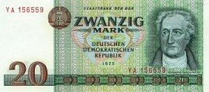 A 20-Mark note from the DDR (East Germany).