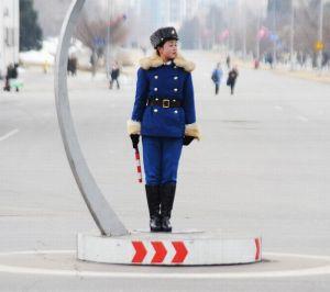 North Korea traffic girls