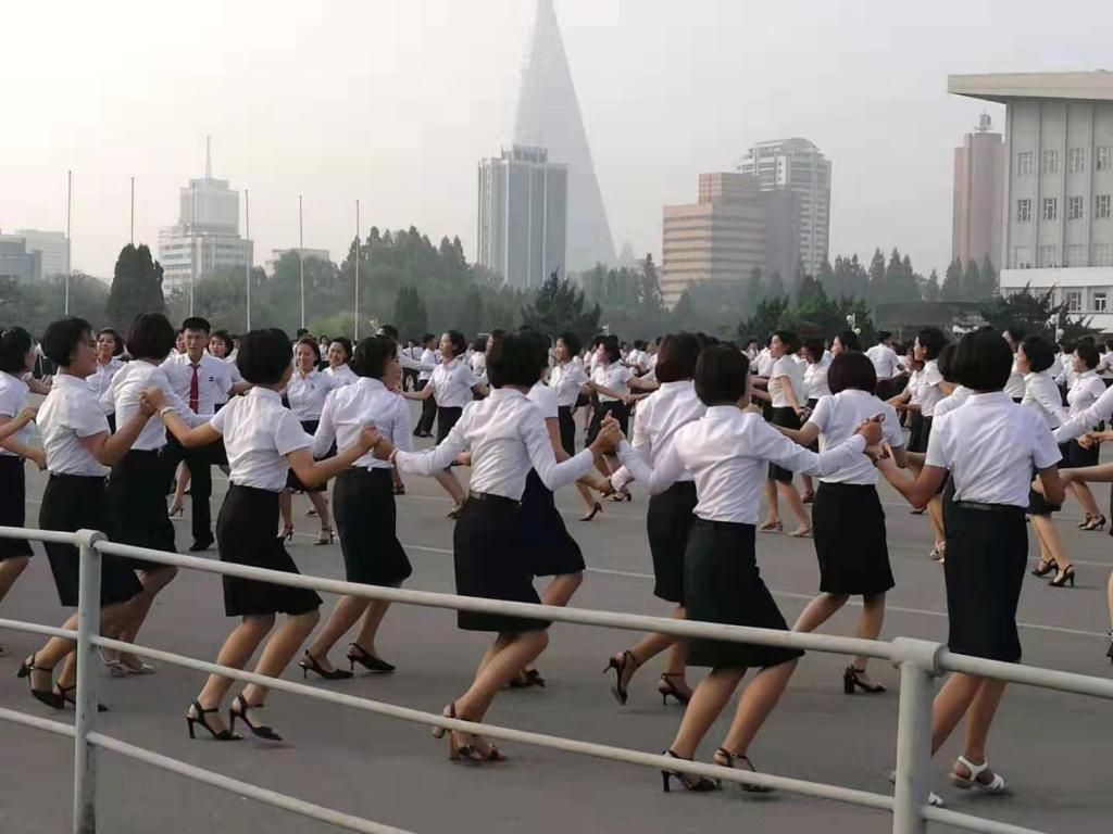 Pyongyang Korean Language Study Tour Mass Dance practice
