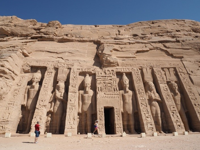 The colossal statues of the Pharaoh at the Abu Simbel temples.