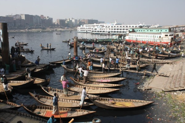 Small barges around Dhaka