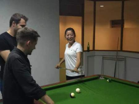 Playing pool at our hotel near Mt. Paekdu during the Korean Language Study Tour