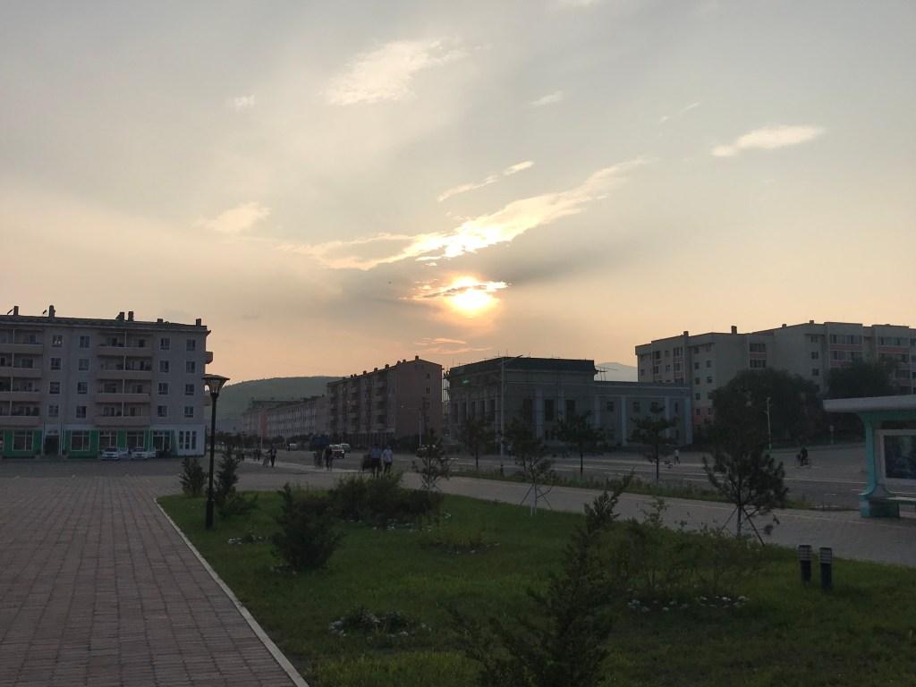The sun sets over Rason, North Korea.