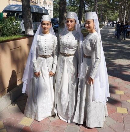 South Ossetian brides in full dress to attend the ceremonies