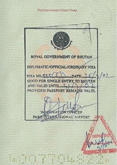 Bhutan travel guide A visa to Bhutan