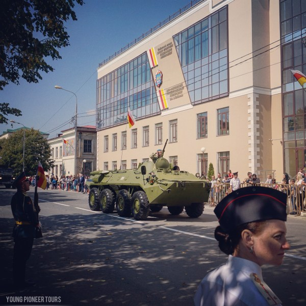 A tank parading for the independence day of South Ossetia
