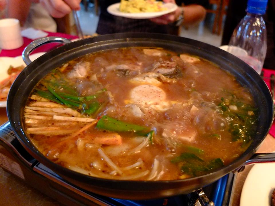 A pot filled with hotpot -- one of the best examples of North Korea food!