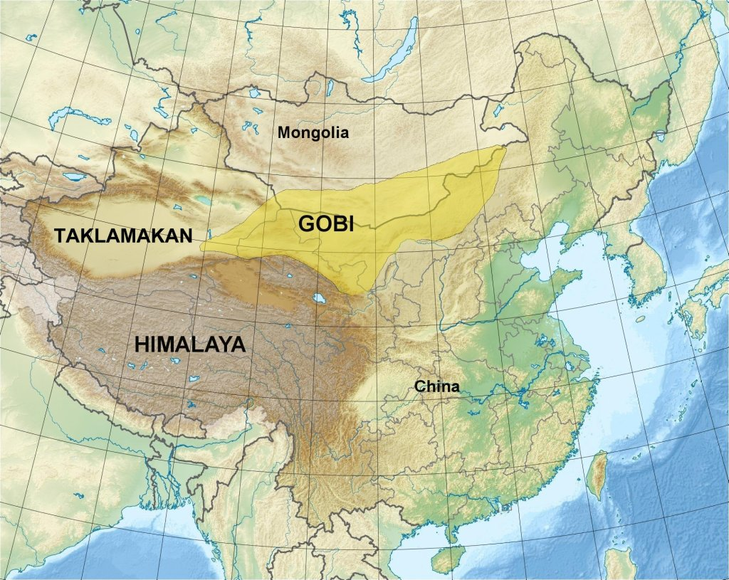 A map showing the location of the Gobi Desert in Asia.