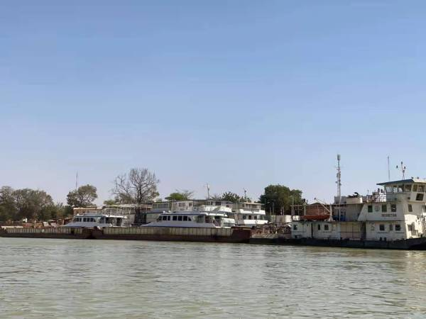 The big tourist boat taking people from Mopti to Timbuktu in Mali