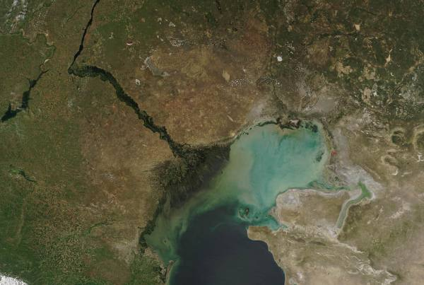 Map of the caspian depression containing the Caspian Sea.
