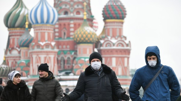 Tourists walking with masks in Moscow