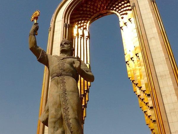 A statue of Ismoel Somoni in Dushanbe, Tajikistan