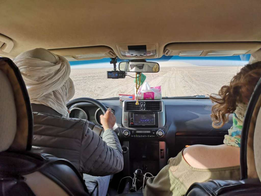 Being driven around Western Sahara