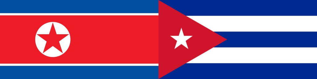 The flags of Cuba and North Korea: Comrades-in-arms