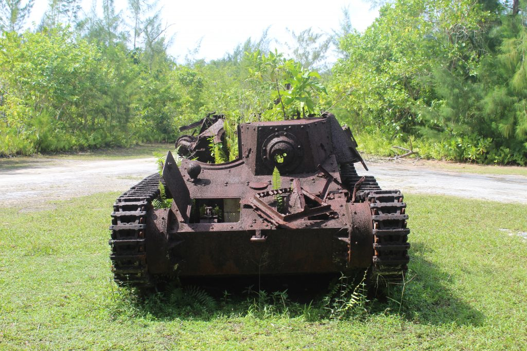A tank remaining from the battle of Peleliu