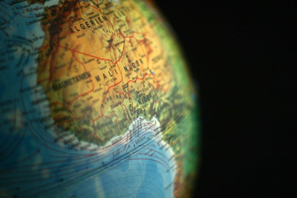 Map of Mali on a Globe