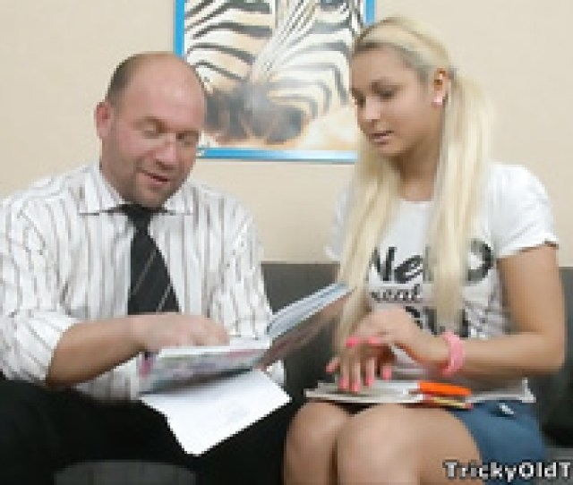 Tricky Old Teacher  C B Take A Look At This Blonde Beauty On Her Knees Getting Cum Covered