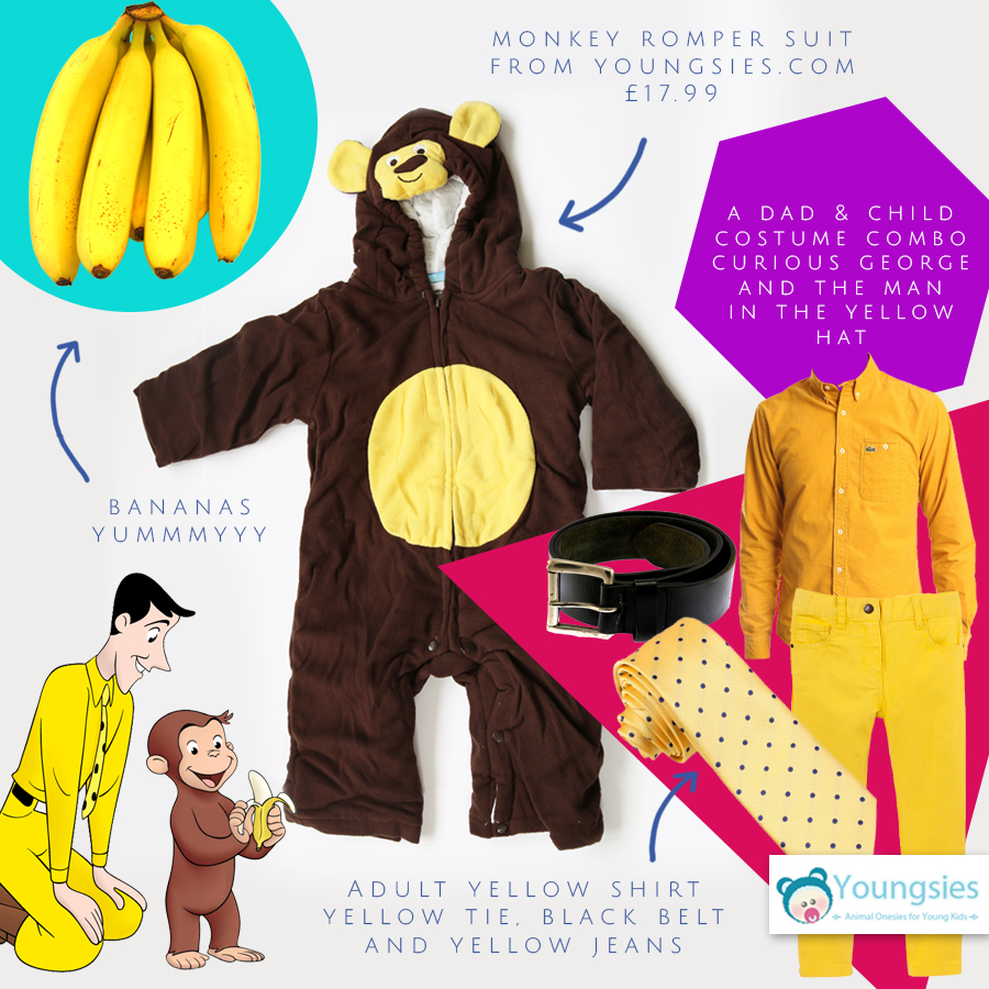 Curious George and the man in yellow halloween costume
