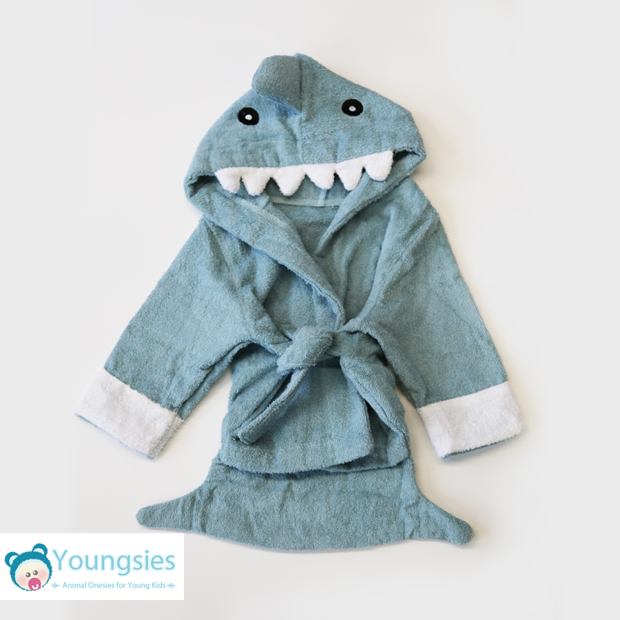 Baby Shark Costume - Cute Towel Dressing Gown Blue