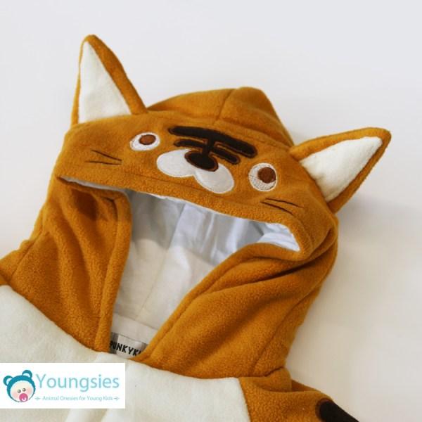 Tiger Face on Kids Romper Suit - Orange