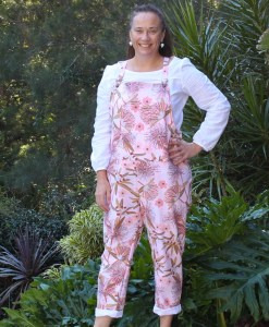 ladies overalls with pockets and floral print