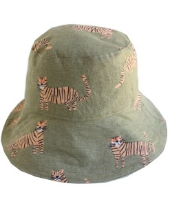 kids bucket hat in tiger print